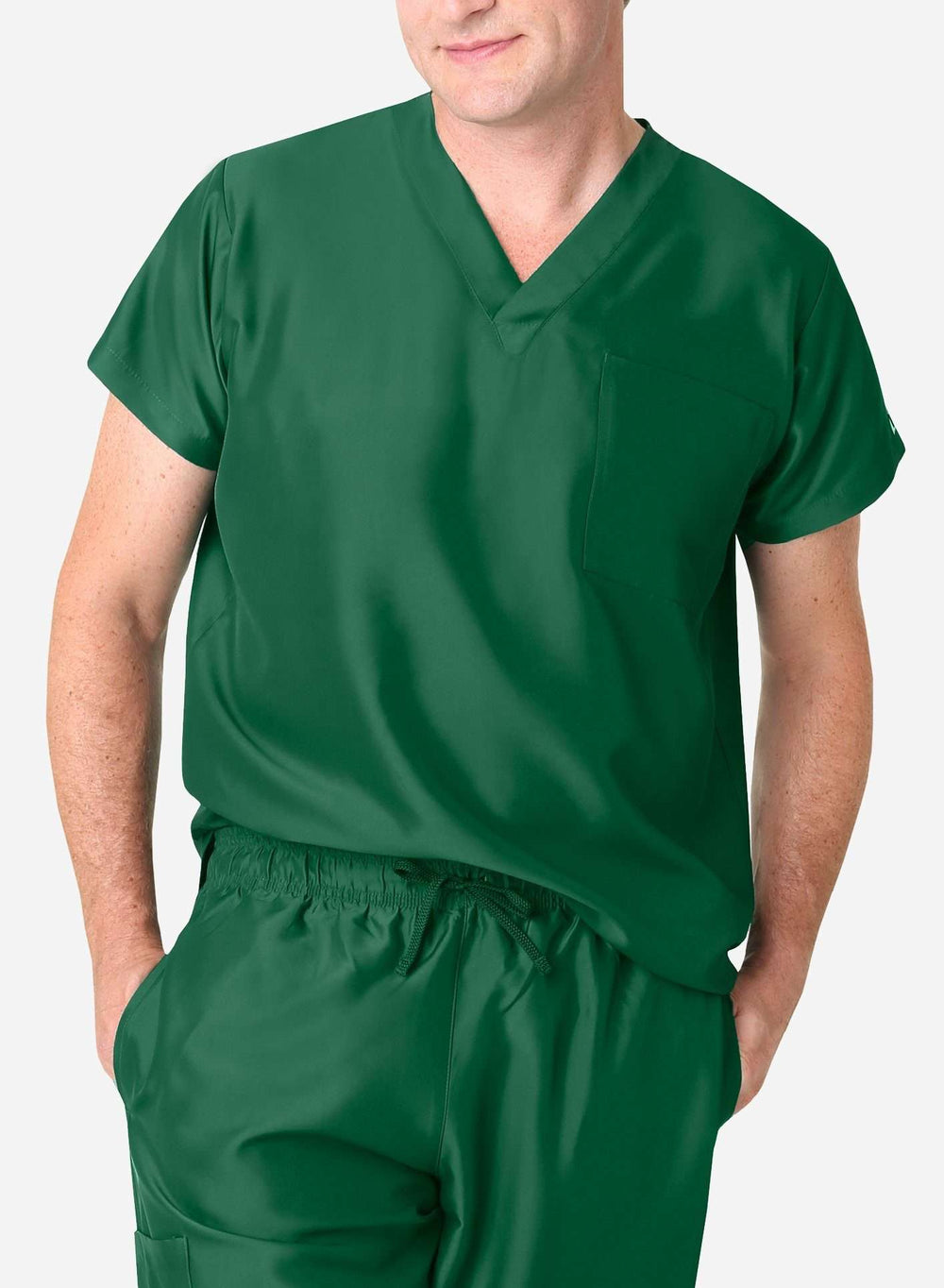 mens simple short sleeve chest pocket scrub top dark green