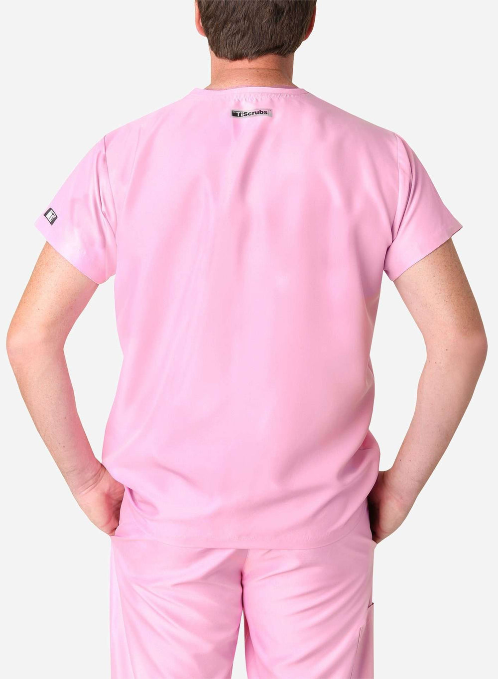 mens simple short sleeve chest pocket scrub top light pink