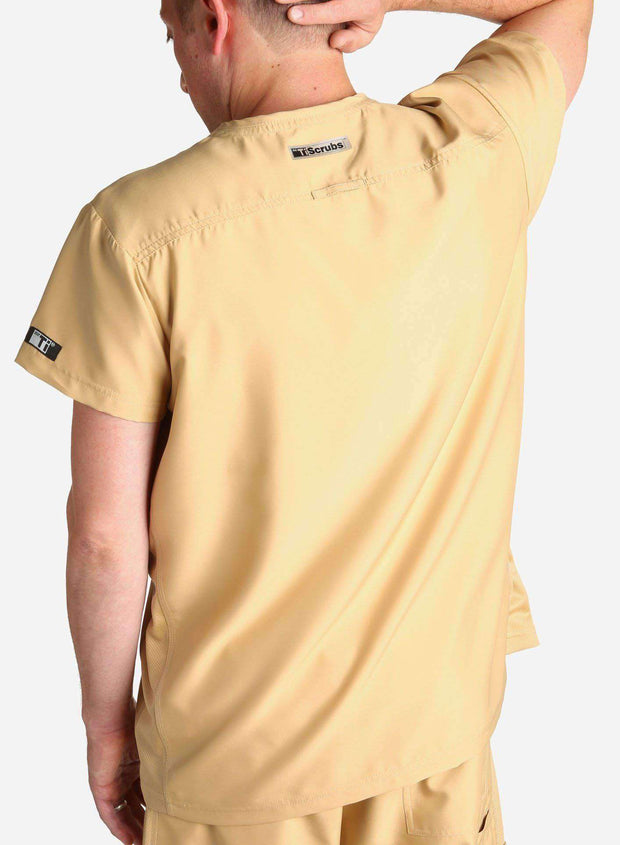 mens short sleeve classic one pocket scrub top khaki