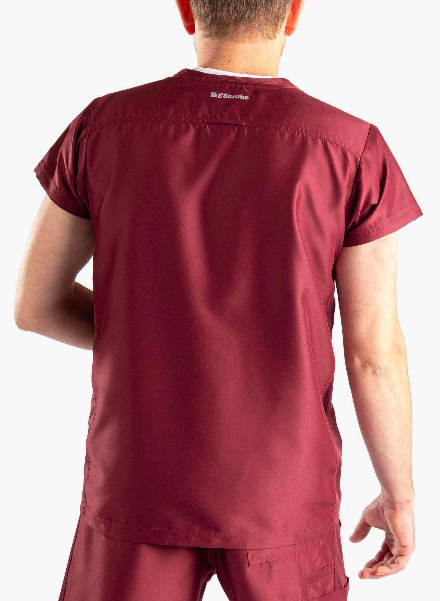 mens short sleeve classic one pocket scrub top Bold Burgundy Elements back