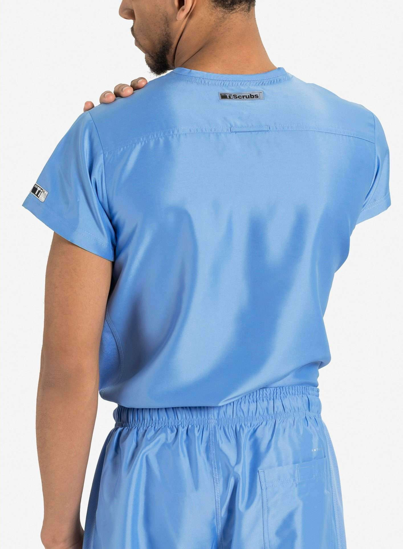 mens Elements short sleeve classic one pocket scrub top ceil blue