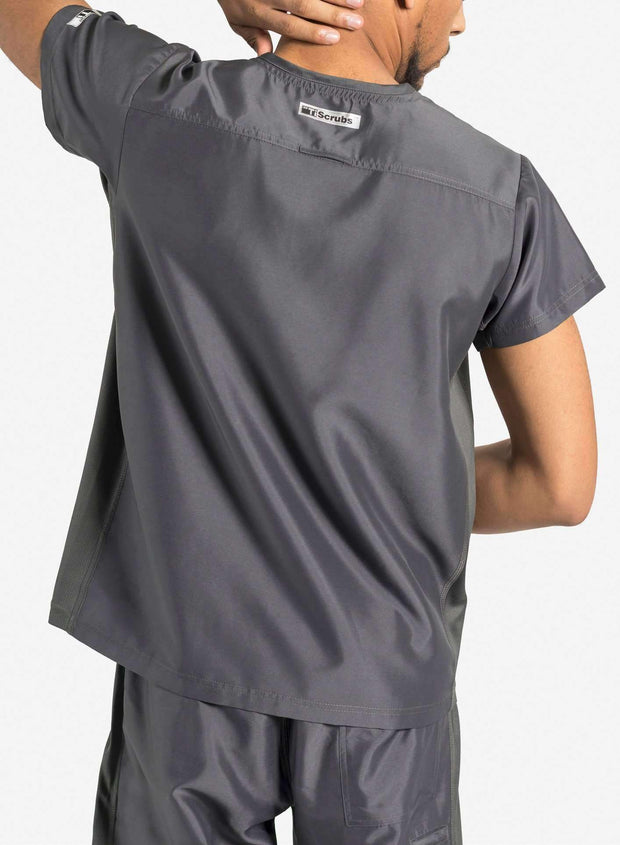 mens Elements short sleeve classic one pocket scrub top dark gray