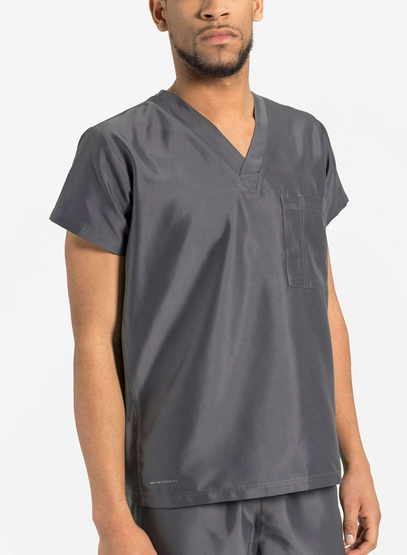 mens Elements short sleeve classic one pocket scrub top dark grey
