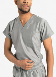 mens Elements short sleeve classic one pocket scrub top light grey