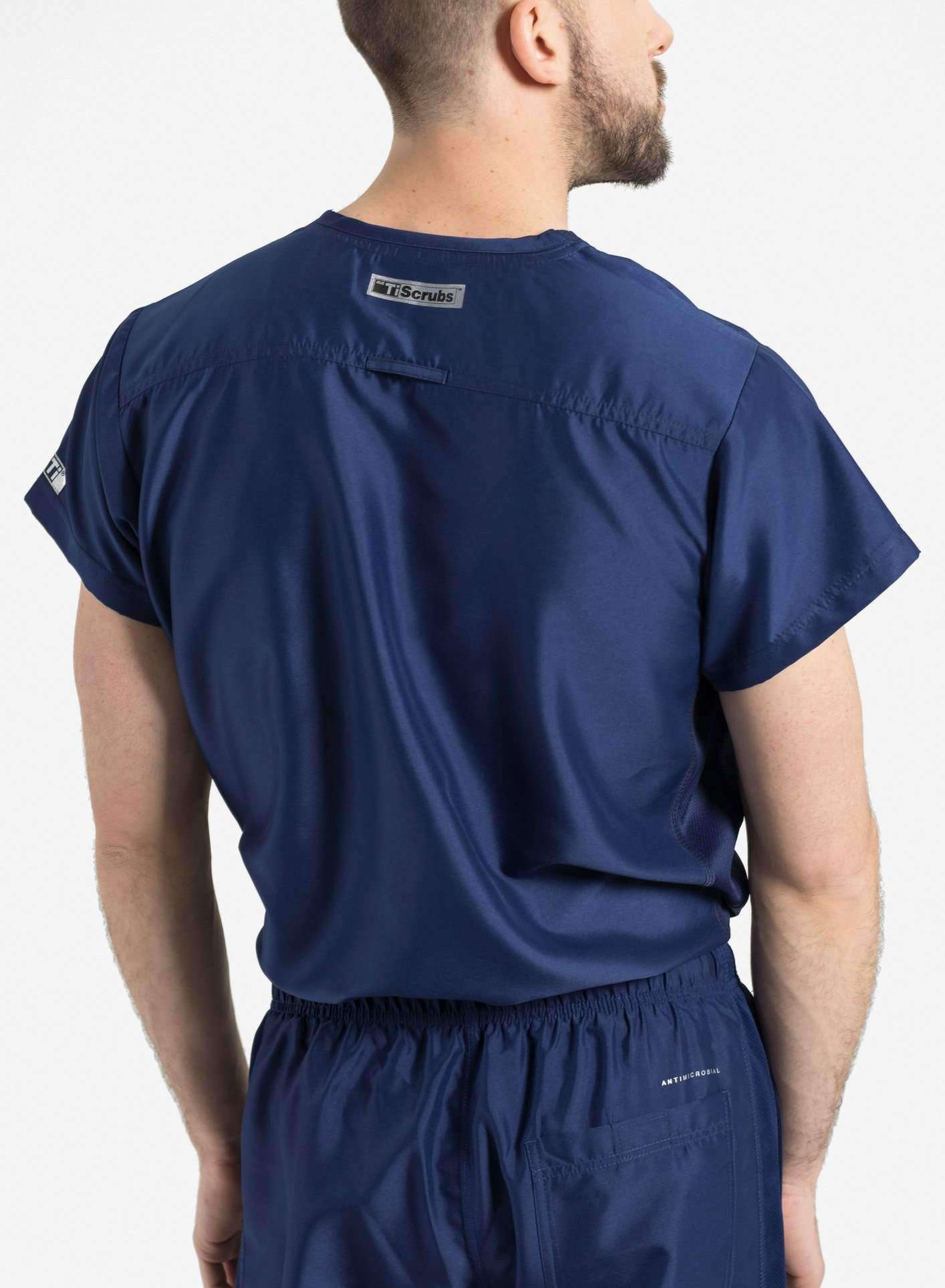 mens Elements short sleeve classic one pocket scrub top navy blue