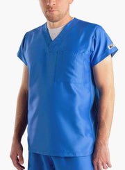 mens short sleeve classic one pocket scrub top royal-blue