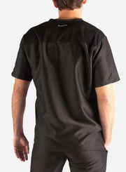 Men's Slim Fit Scrub Top in Black Back
