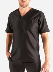 Men's Slim Fit Scrub Top in Black Front