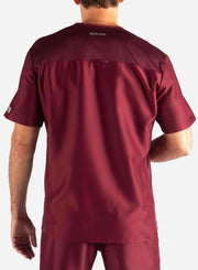 Men's Slim Fit Scrub Top in Bold Burgundy Back