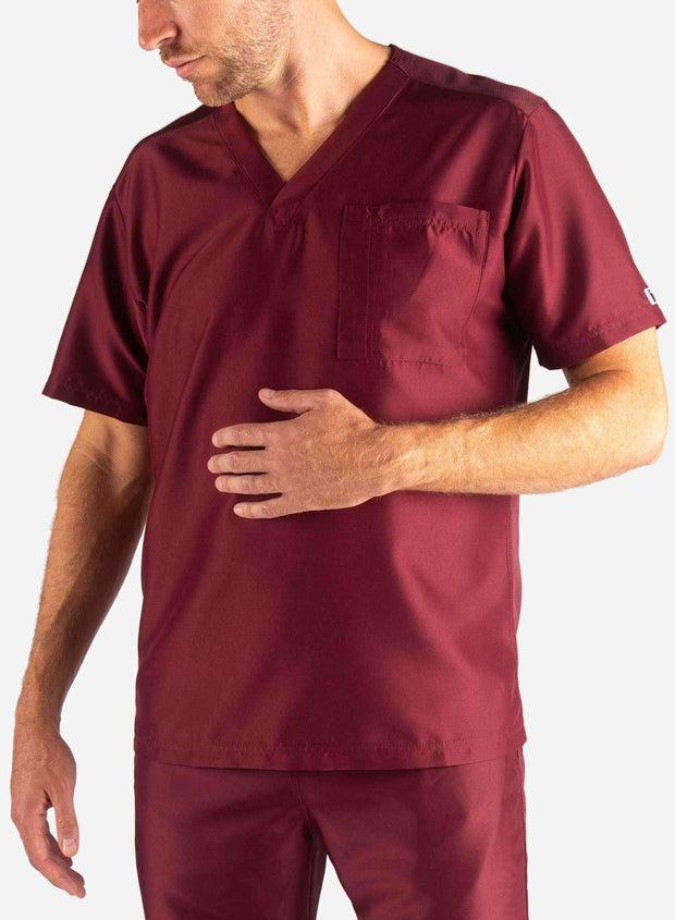 Men's Slim Fit Scrub Top in Bold Burgundy Front