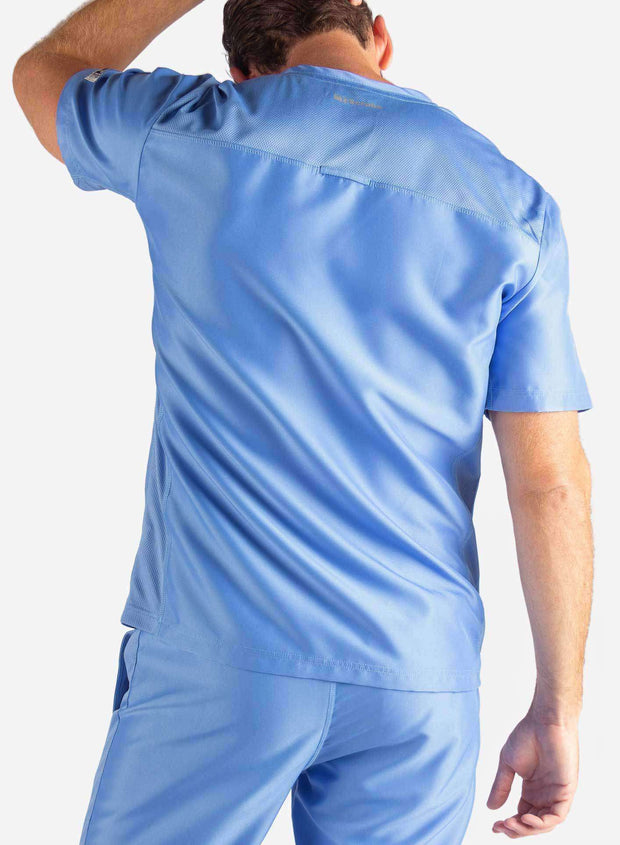 Men's Slim Fit Scrub Top in Ceil Blue Back