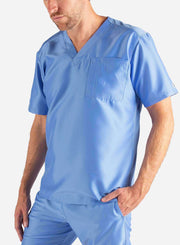 Men's Slim Fit Scrub Top in Ceil Blue Front