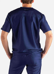 Men's Slim Fit Scrub Top in Navy Blue Back