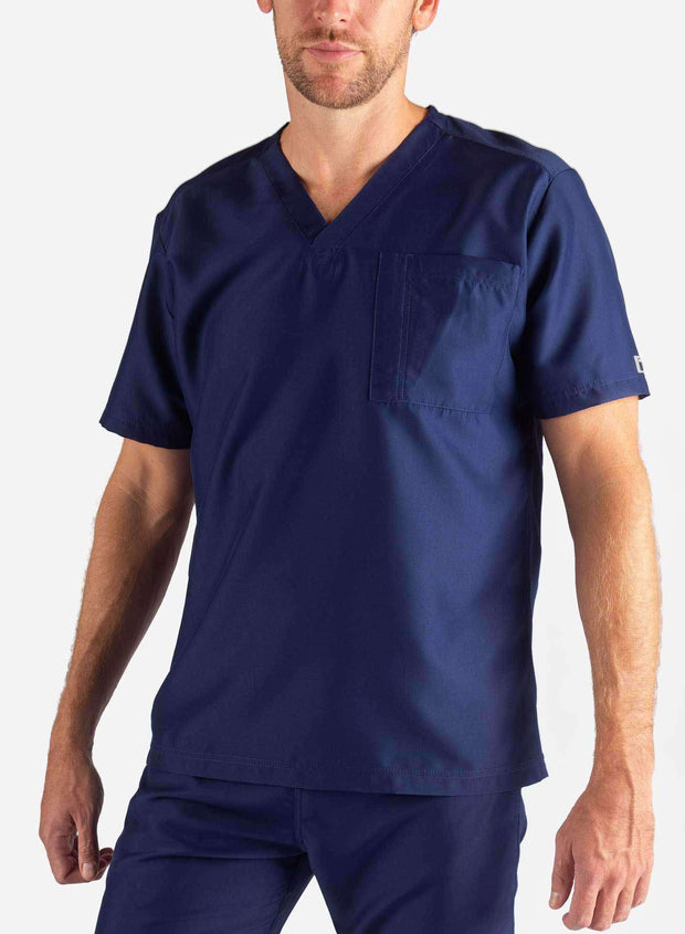Men's Slim Fit Scrub Top in Navy Blue Front