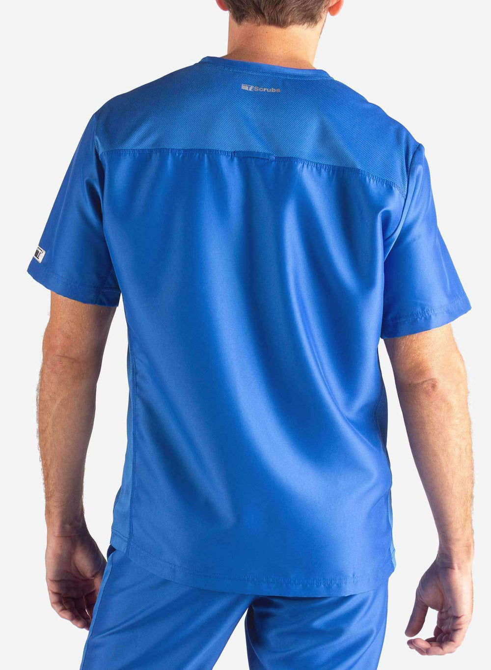 Men's Slim Fit Scrub Top in Royal Blue Back