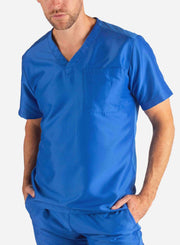 Men's Slim Fit Scrub Top in Royal Blue Front