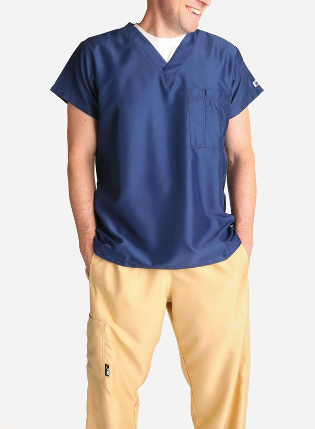 mens short sleeve navy blue scrub top and khaki pants front