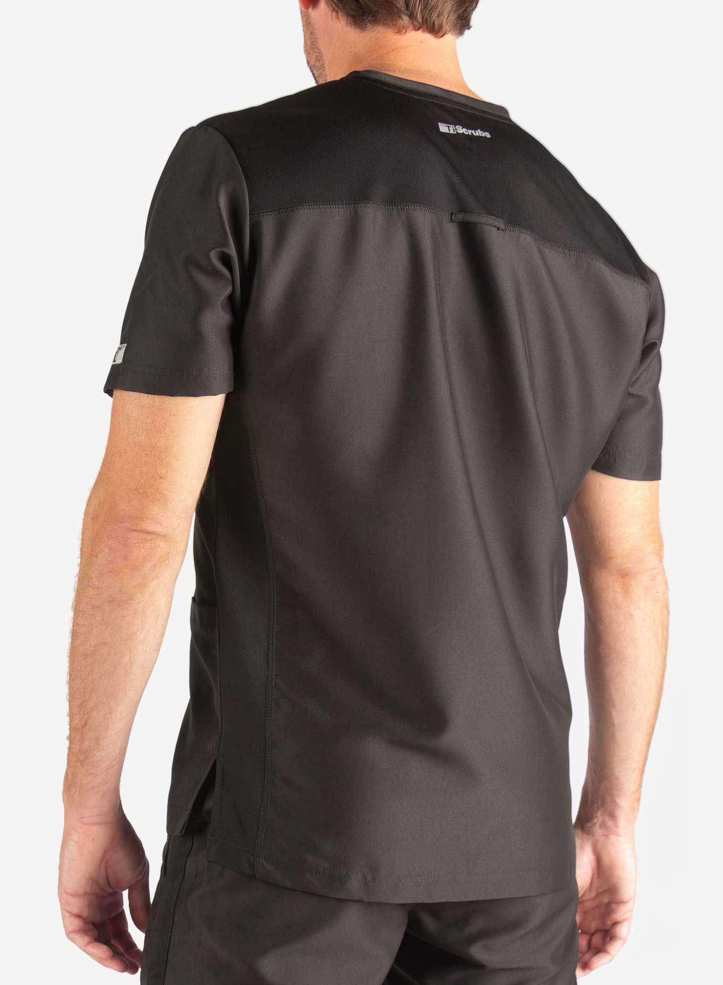 Men's 3 Pocket Scrub Top in Black Back