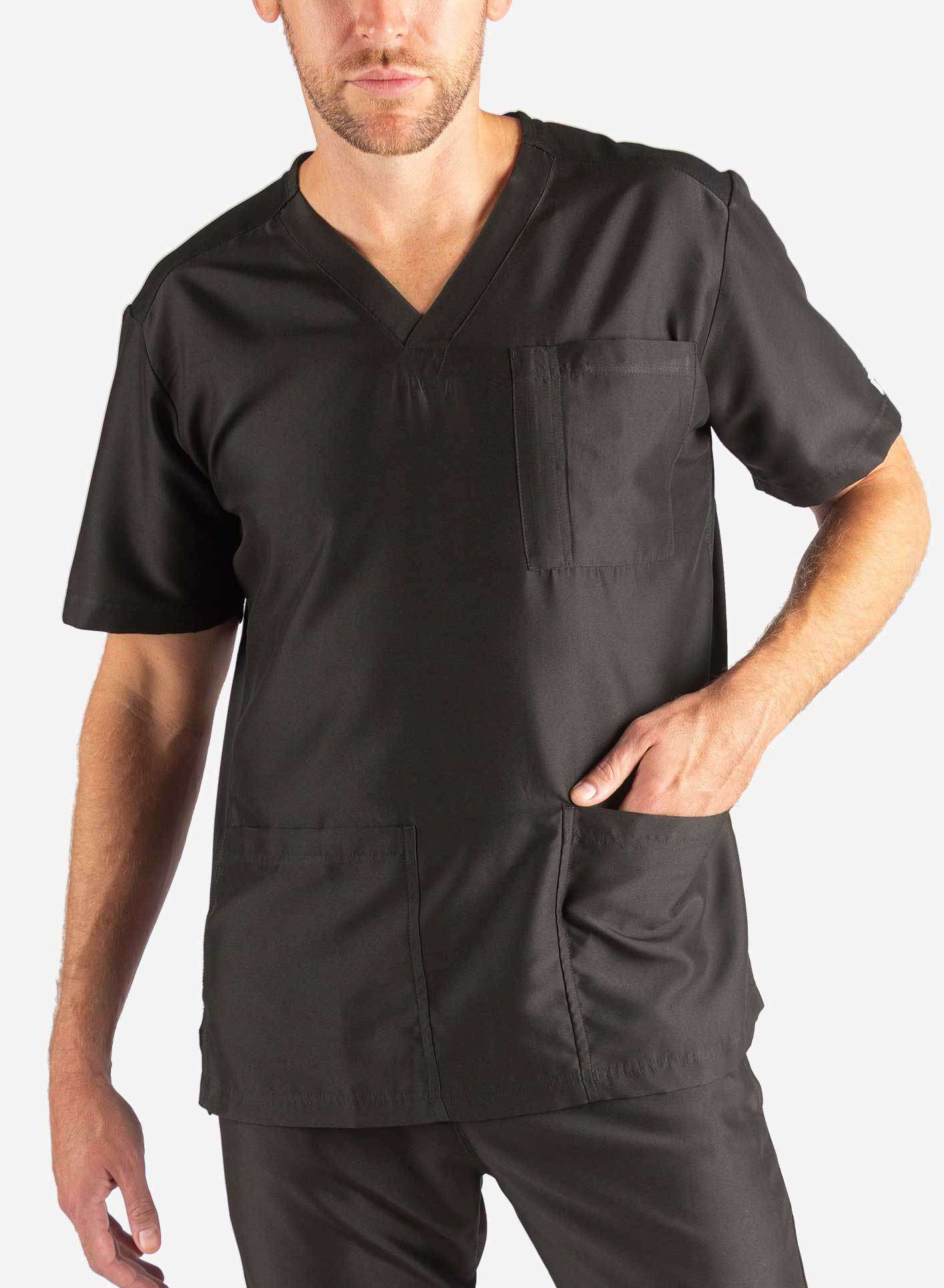 Men's 3 Pocket Scrub Top in Black Front