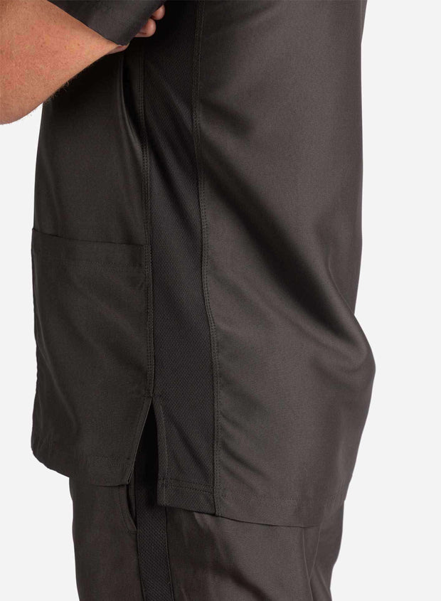 Men's 3 Pocket Scrub Top in Black Side