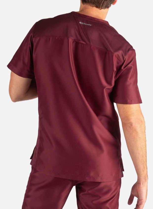 Men's 3 Pocket Scrub Top in burgundy