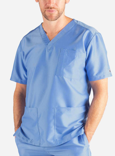 Men's 3 Pocket Scrub Top in ceil-blue
