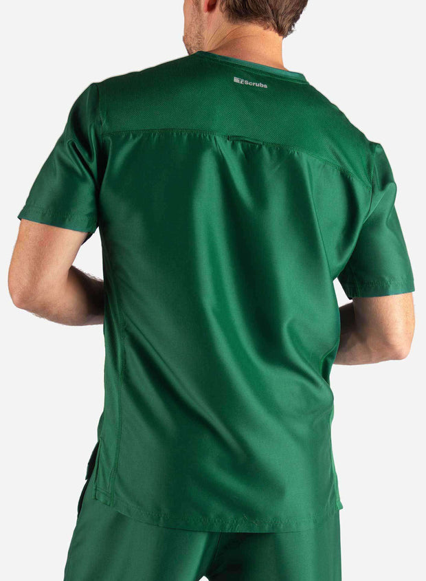 Men's 3 Pocket Scrub Top in Dark Green Back