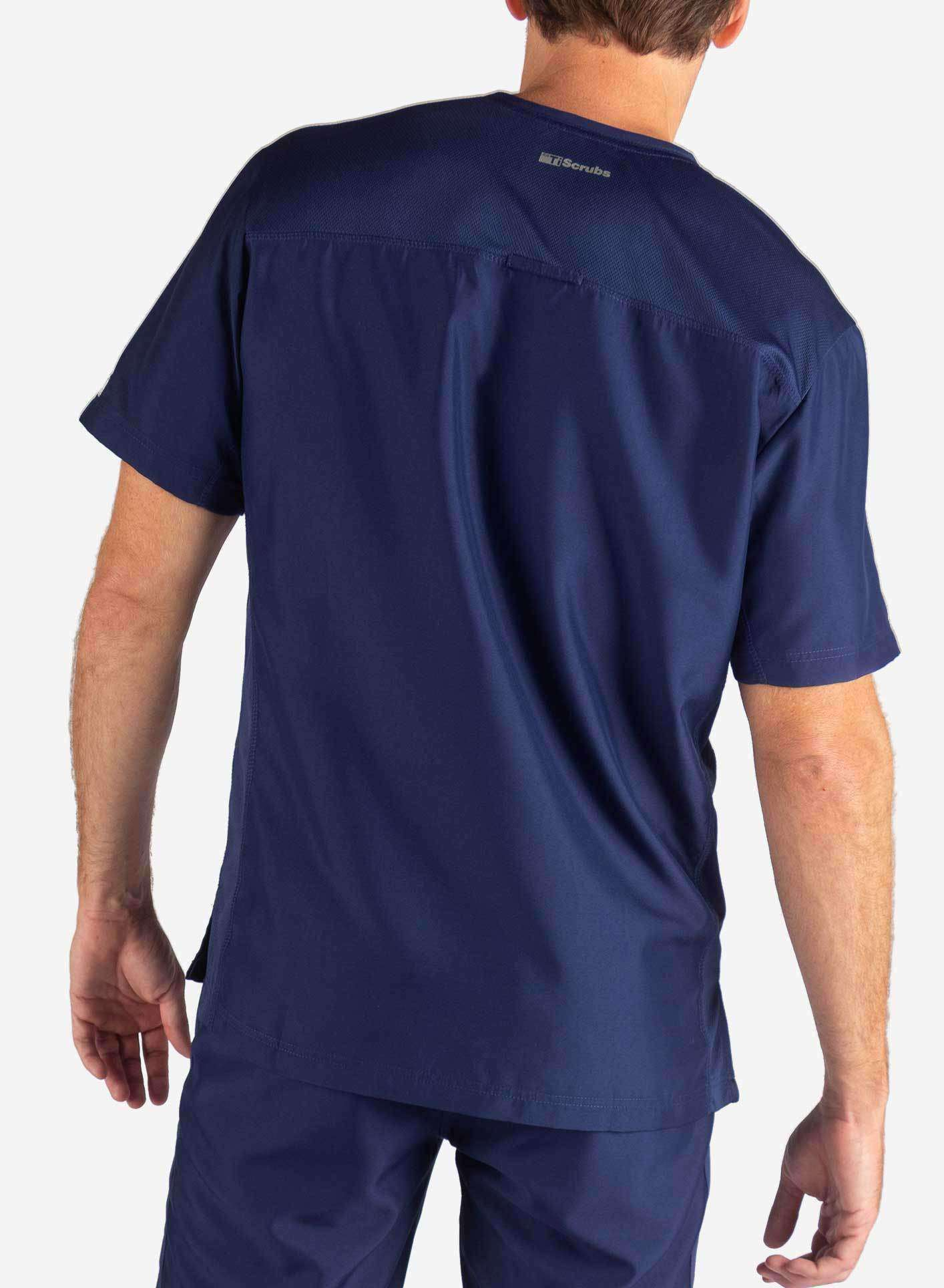 Men's 3 Pocket Scrub Top in Navy Blue Back