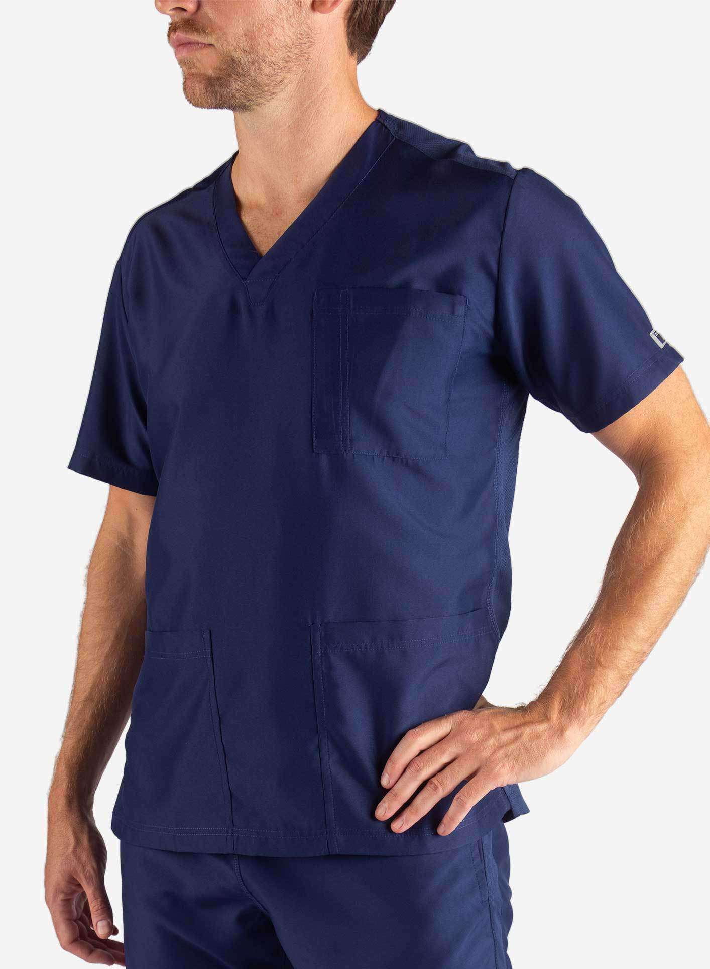 Men's 3 Pocket Scrub Top in Navy Blue Front