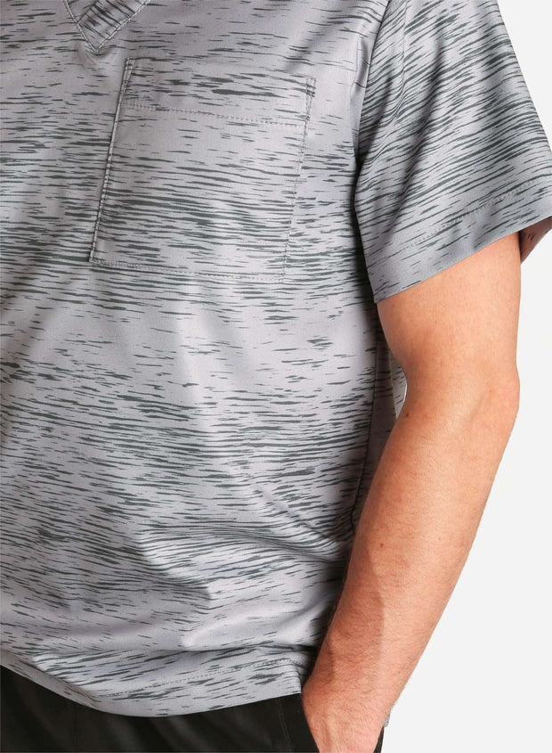 mens stretch scrub top in athletic static print grey and black color detail