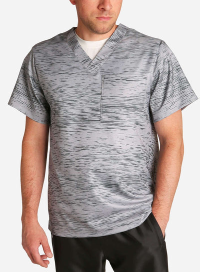 mens stretch scrub top in athletic static print grey and black color front