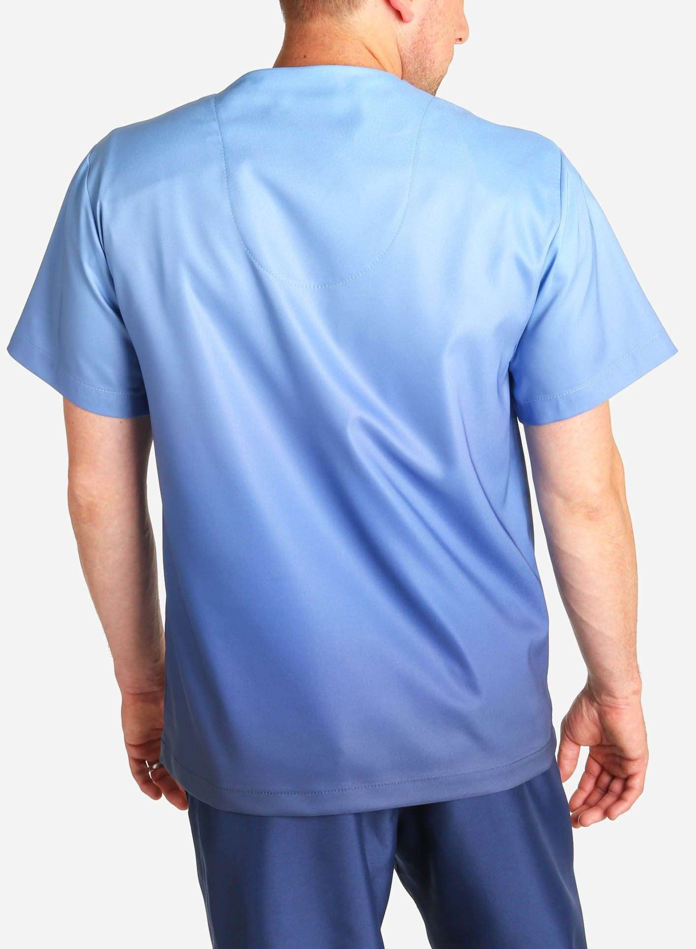 mens stretch scrub top in two tone blue ombre back