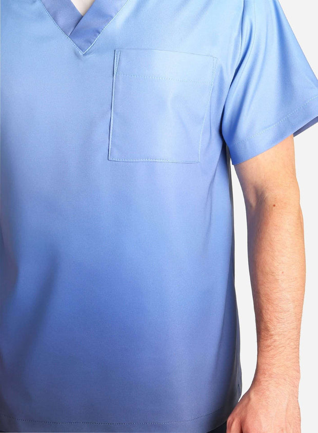 mens stretch scrub top in two tone blue ombre detail