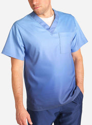 mens stretch scrub top in two tone blue ombre front