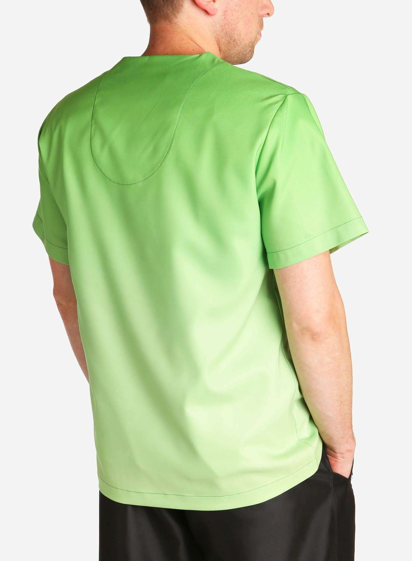 mens stretch scrub top in two tone green ombre back