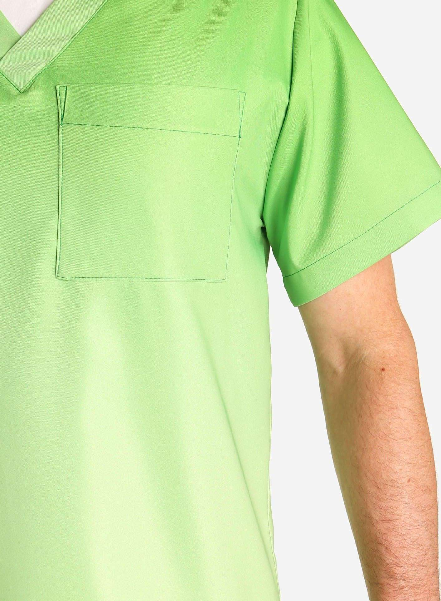 mens stretch scrub top in two tone green ombre detail
