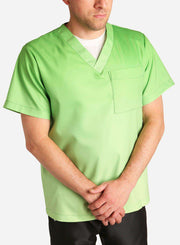 mens stretch scrub top in two tone green ombre front