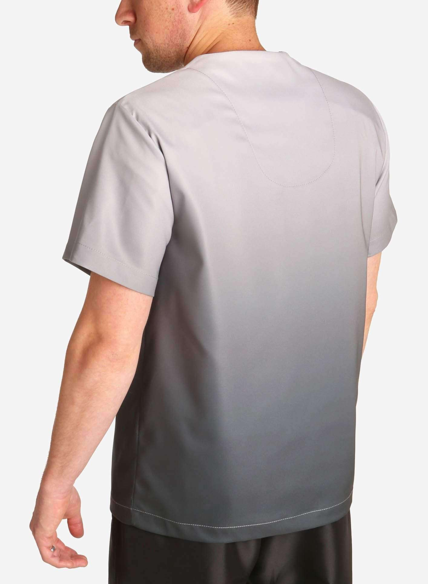 mens stretch scrub top in two tone grey ombre back
