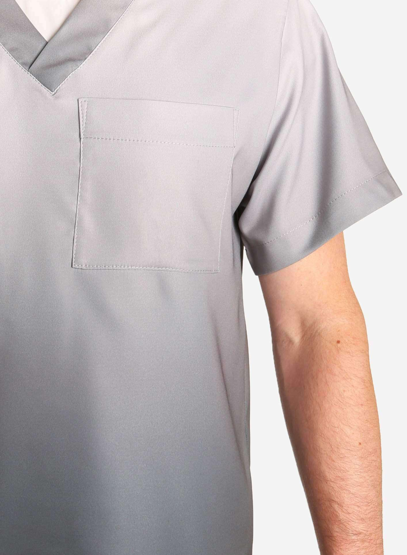 mens stretch scrub top in two tone grey ombre detail