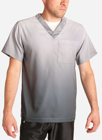 mens stretch scrub top in two tone grey ombre front