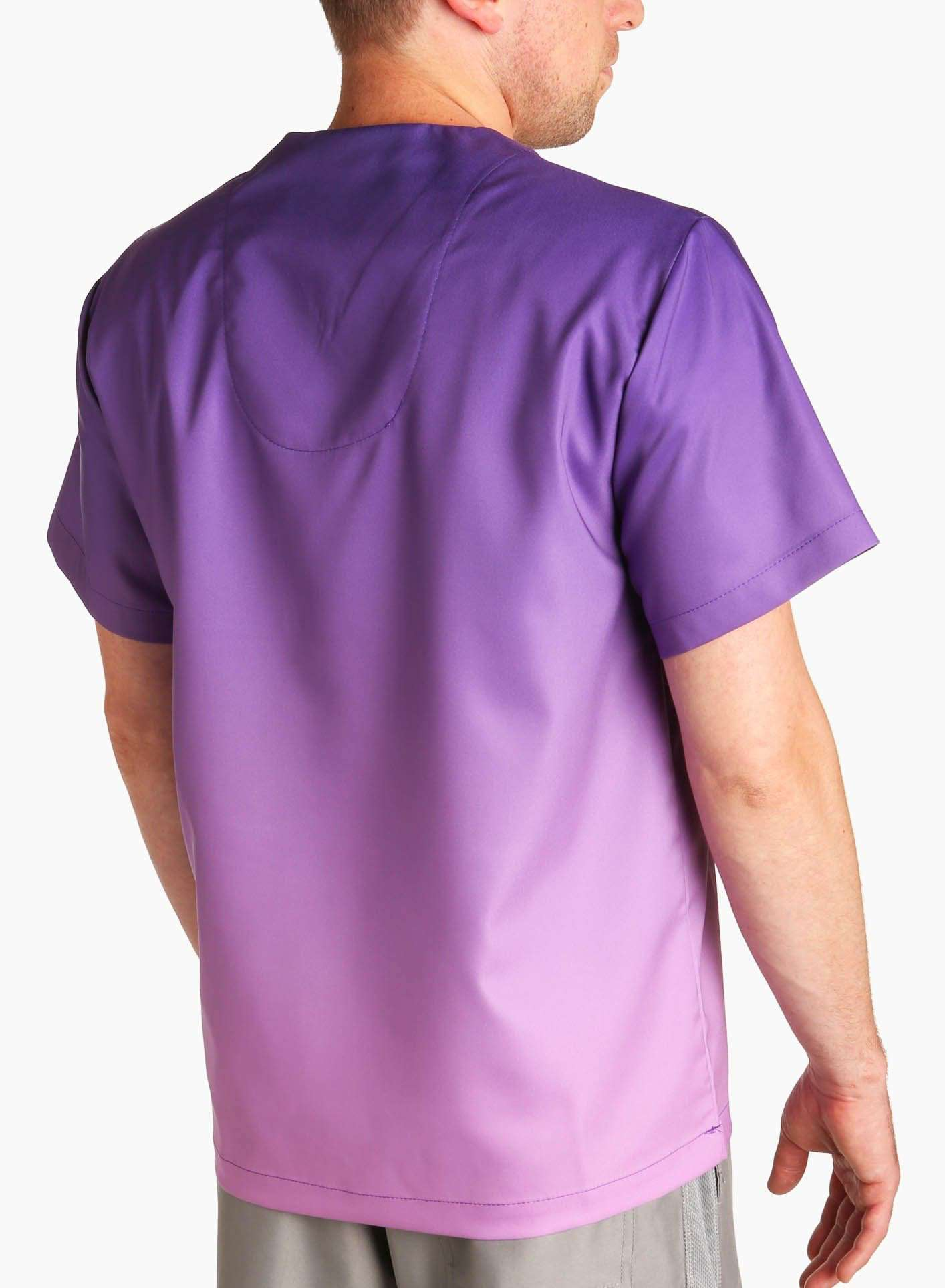 mens stretch scrub top in two tone purple ombre back