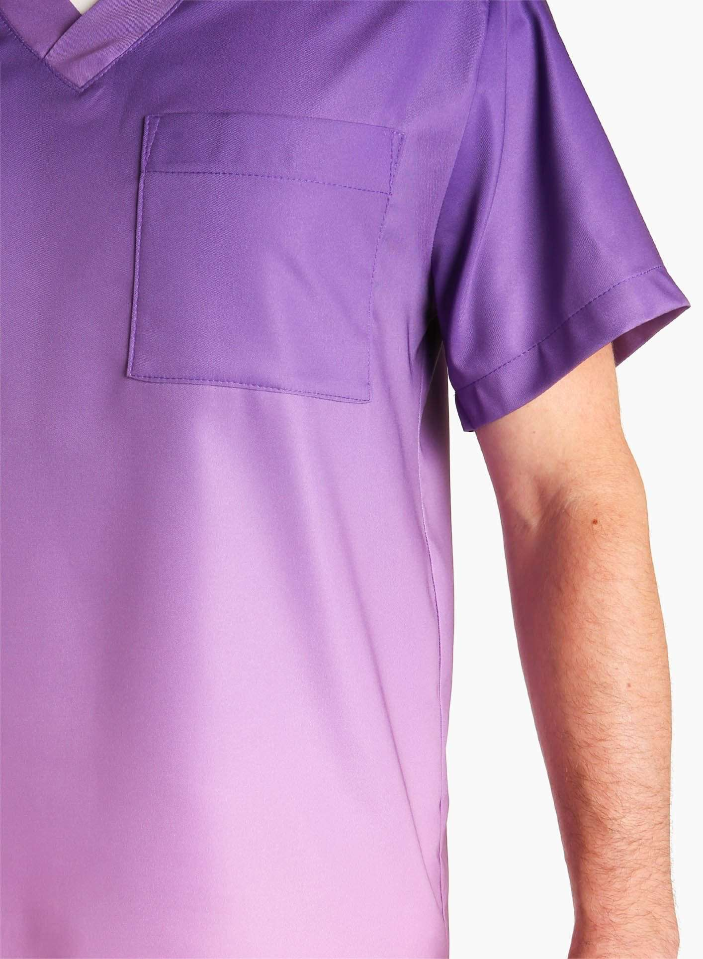 mens stretch scrub top in two tone purple ombre detail
