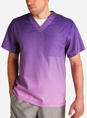 mens stretch scrub top in two tone purple ombre front