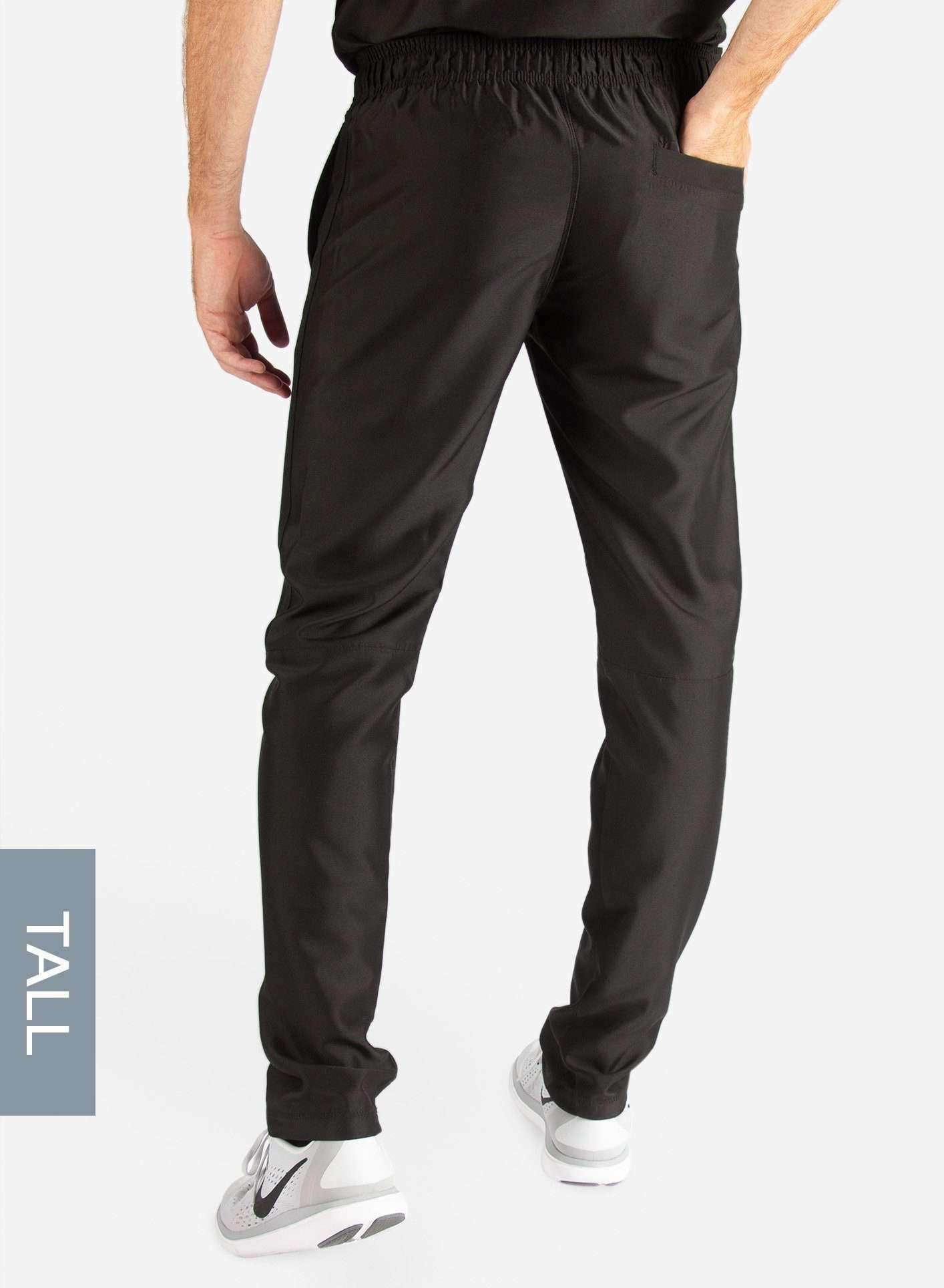 Men's Tall Slim Fit Scrub Pants in Real Black Back View