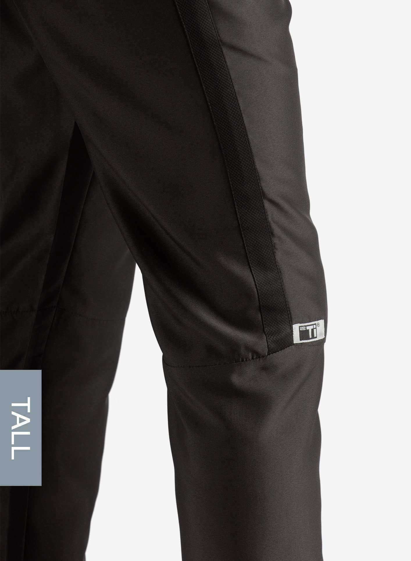 Men's Tall Slim Fit Scrub Pants in Real Black Side View
