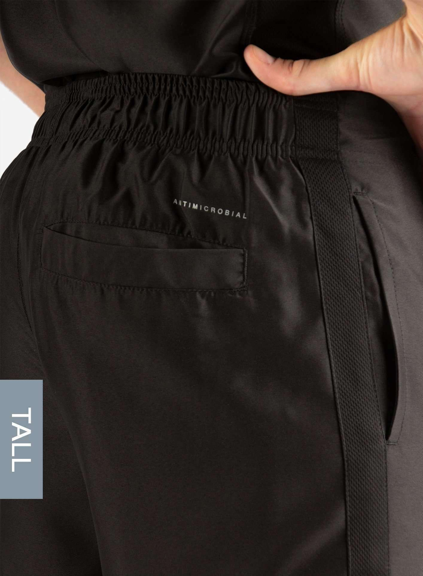 Men's Tall Slim Fit Scrub Pants in Real Black Back Pocket View