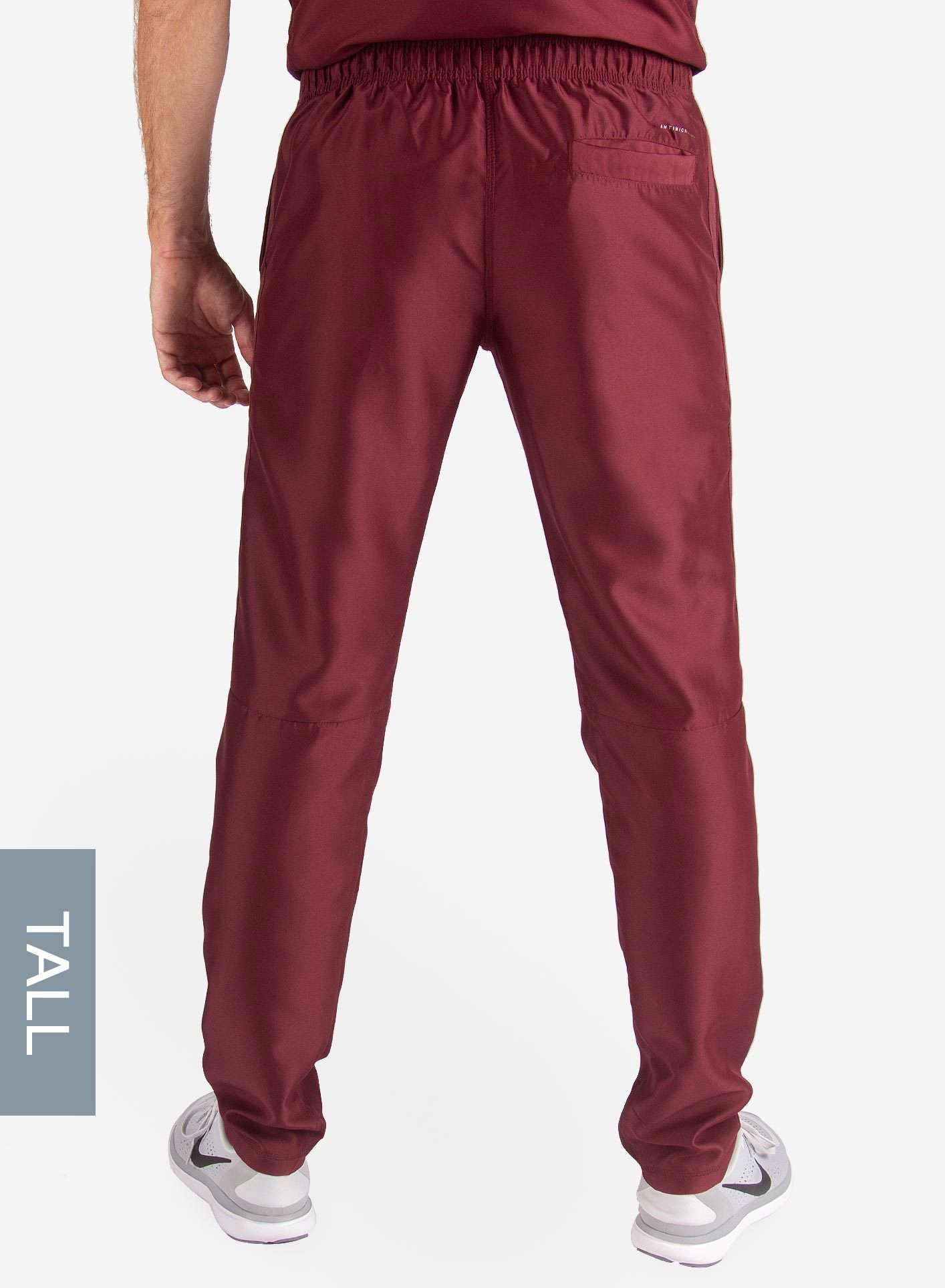 Men's Tall Slim Fit Scrub Pants in Bold Burgundy back
