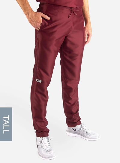 Men's Tall Slim Fit Scrub Pants in Bold burgundy