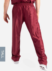 mens Elements tall relaxed fit scrub pants bold burgundy back