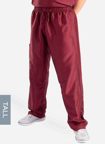 mens Elements tall relaxed fit scrub pants bold burgundy front